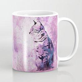 Pink Watercolor Cat Painting Coffee Mug