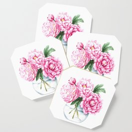 Pink Peony Painting, Watercolor Peony Art, Pink Flower Bouquet Coaster