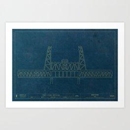 The Steel Bridge — Blueprint Art Print