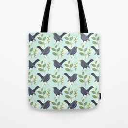 A Flurry Of Wings Spring Blackbird Pattern Tote Bag