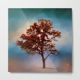Vermillion Cotton Field Tree - Landscape Metal Print