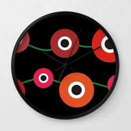 Red poppy circle on black Wall Clock