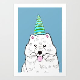 Samoyed with Party Hat Art Print