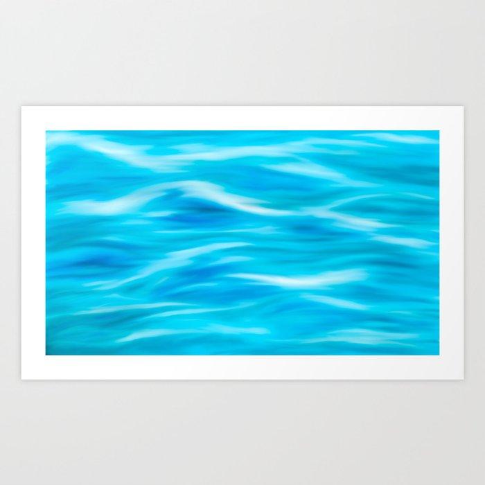 Blue waves painting Art Print