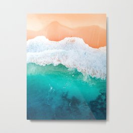 Tiny Surfers in the Blue Ocean Metal Print