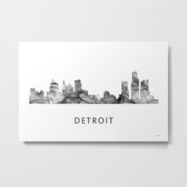 Detroit, Michigan Skyline WB BW Metal Print
