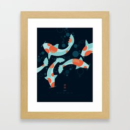 Koi Carps in a Blue-Black Pond Framed Art Print