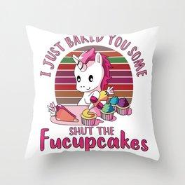 Unicorn-Shut the Fucupcakes Throw Pillow