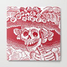 Calavera Catrina | Skeleton Woman | Red and White | Metal Print
