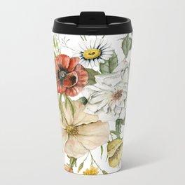 Wildflower Bouquet on White Metal Travel Mug