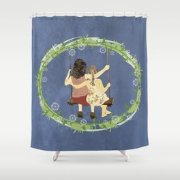 Sisters on swing Shower Curtain
