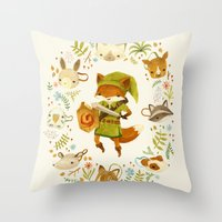 watercolor Throw Pillows featuring The Legend of Zelda: Mammal's Mask by Teagan White