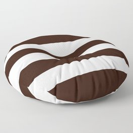 Root beer - solid color - white stripes pattern Floor Pillow