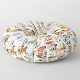 Adolphe Millot - Champignons B - French vintage poster Floor Pillow