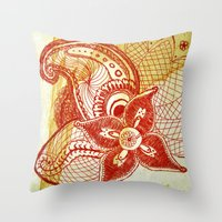rare Throw Pillows featuring Rare Bloom by SecondLevelPrints