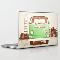 volkswagon Laptop & iPad Skins featuring Vintage Volkswagen Bus (Green Edition) by Laura Ruth