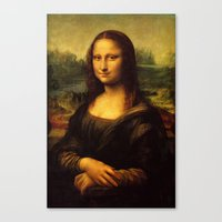 mona lisa Canvas Prints featuring Mona Lisa by Elegant Chaos Gallery