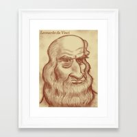 da vinci Framed Art Prints featuring Leonardo da Vinci by Roberto Núñez