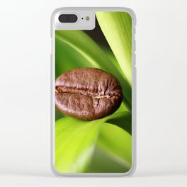 Coffee beans on bamboo Clear iPhone Case