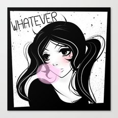 Apathetic mood anime girl Canvas Print