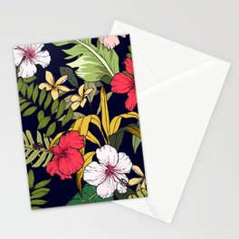 Tropical Island Oasis Floral Pattern Stationery Cards