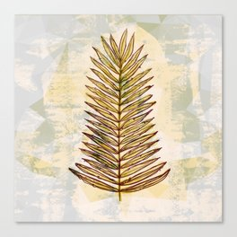 Palm Frond Leaf Abstract Geometric Polygon Watercolor Painting of Tropical Leave Canvas Print