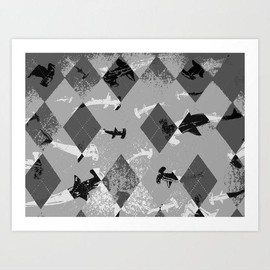 Argyle Frenzy in Highlight Art Print