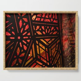 Abstract Red Light Exhibit Serving Tray