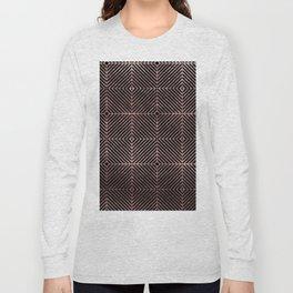 Abstract black rose pink geometrical diamond pattern Long Sleeve T-shirt