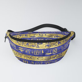 Golden Egyptian  hieroglyphs pattern on  blue Fanny Pack