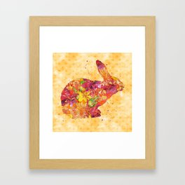 Happy Bunny flower watercolor pattern rabbit Framed Art Print