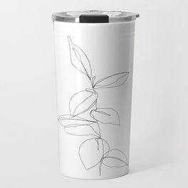 One line minimal plant leaves drawing - Berry Travel Mug