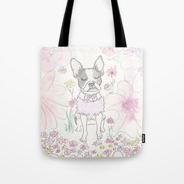 Beautiful Boston Terrier and Flower Wonderland Tote Bag