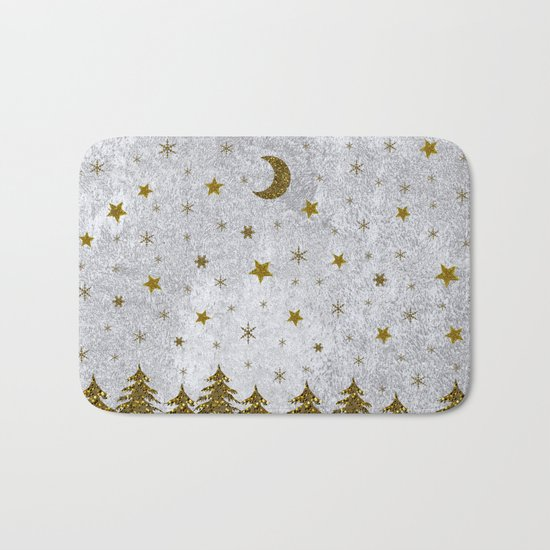 Sparkly Christmas tree, stars, moons on abstract paper Bath Mat