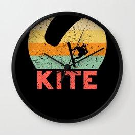 Kite retro vintage kite surfing Wall Clock