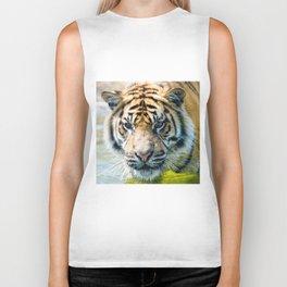 Tiger in the water  Biker Tank