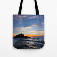 big sur Tote Bags featuring Big Sur sunset  by davehare