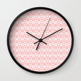 Coral Pink & White Valentines Love Heart Check Pattern Wall Clock
