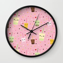 Happy Boba Bubble Tea Pink Wall Clock