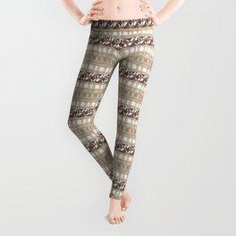 Boho . Beige woven textiles . Leggings