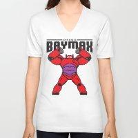 8bit V-neck T-shirts featuring BAYMAX (8BIT) by Akiwa