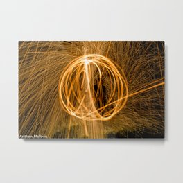 Light Painting with Wirewool Metal Print