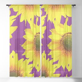 Sunflowers on a purple background - summer mood - #Society6 #buyart Sheer Curtain