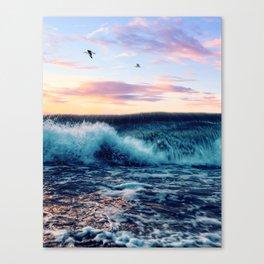 Waves Crashing At Sunset Canvas Print