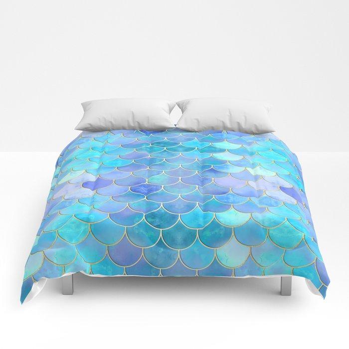 Aqua Pearlescent & Gold Mermaid Scale Pattern Comforters