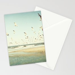 Birds on Beach Photography, Seagulls Flying Coastal Photo, Teal Bird Ocean Picture, Turquoise Aqua Stationery Cards