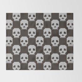 Knitted skull pattern Throw Blanket