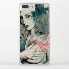 SGNL>05 (seminude street art portrait, topless lady with swan tattoo) Clear iPhone Case