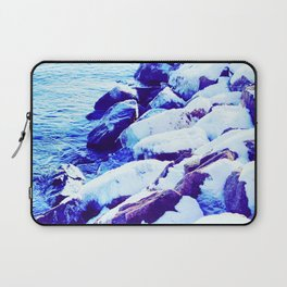 Snow Covered River Stones Laptop Sleeve