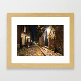 Acorn Street Autumn Boston Mass Street Light Framed Art Print